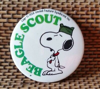 1958 ~ Beagle Scout /Snoopy Button ~Vintage ~ Exceptional