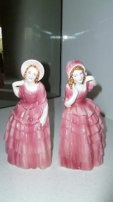 Two Beautiful Vintage Porcelain Lady Book Ends