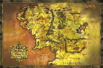 The Lord Of The Rings poster MIDDLE EARTH MAP large size 61 cm X 91.5 cm