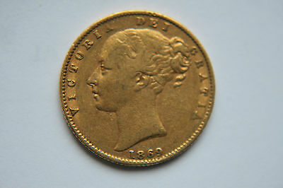 Early 1869  Victoria  Shield Back Full Gold Sovereign Coin
