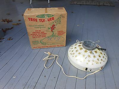 Antique Vintage Holly Time Revolving Christmas Tree Turner Stand / Original Box
