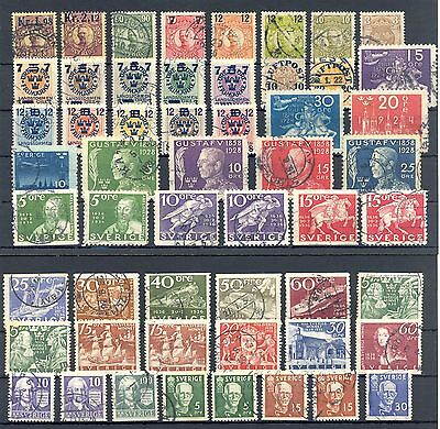 Sweden  1918/1938  54   Stamps   Most  Used     Most  Vf