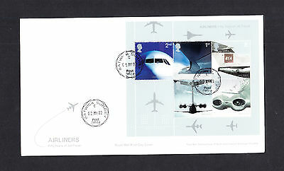 2002 Airliners Mini Sheet Royal Mail FDC with Gatwick Surrey CDS