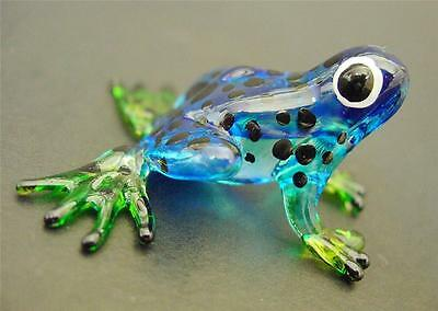 Glass FROG Spotted Blue Painted Glass Animal Ornament Cute Glass Figure Gift