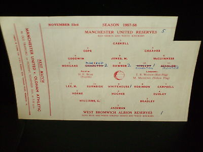 1957/1958 Manchester United Reserves V. West Bromwich  Albion  Central League