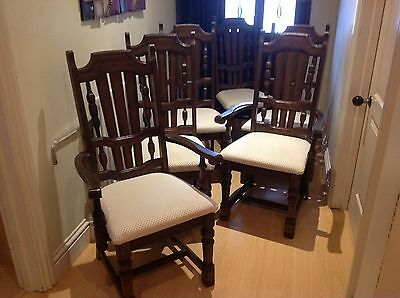 Set of 6 Solid Wood Dining Chairs including 2 carvers needs some Tlc