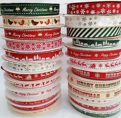 STRIPES SNOWFLAKES HAPPY MERRY CHRISTMAS RIBBON RIBBONS - 1, 2 , 3 or 5 METRES