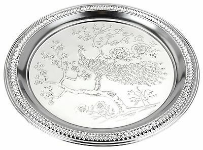 1Engraved Silver Coloured Metal Tray Silver Serving Tray Tea Tray Round Tea Tray