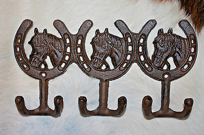 "(3),TRIPLE WESTERN HOOKS,horseshoes,horses,wall hooks,""antique look"",ranch, W-30"