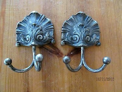 Old Pair  French Hooks Pewter