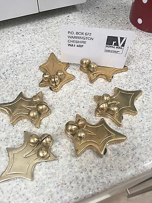 Christmas Solid Brass Holly Name Place Holders X6