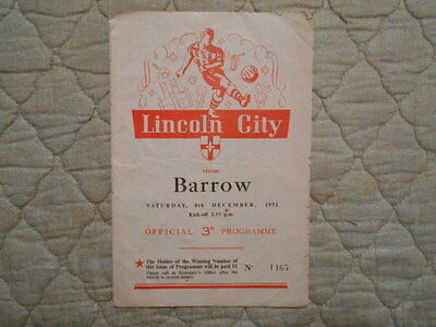 Lincoln City V Barrow Third Division North Match Programme December 1951