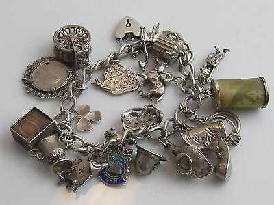 Vintage Solid Silver Charm Bracelet Set With 19 Charms