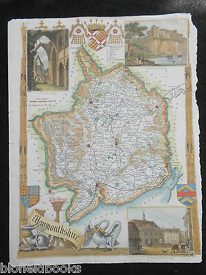 Original Antique Map of Monmouthshire (Wales) c1850s Hand Coloured Vignettes