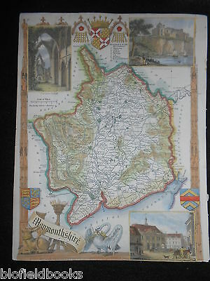Original Antique Map - Monmouth (Wales) c1850s Hand Coloured Illustrations/Welsh