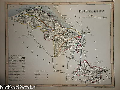 Original Antique Map of Flintshire (Wales) c1850s - Hand Coloured, Holywell