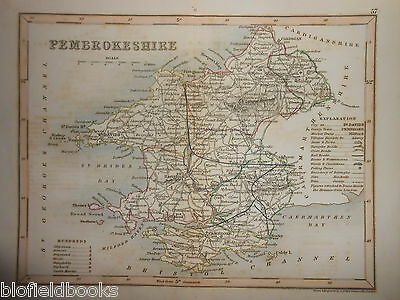 Original Hand Coloured Antique Map - Pembrokeshire c1850s (South Wales) J Archer