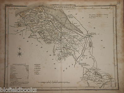 Original Antique Map of Flintshire (North Wales)  c1850s - inc Wrexham/Holywell