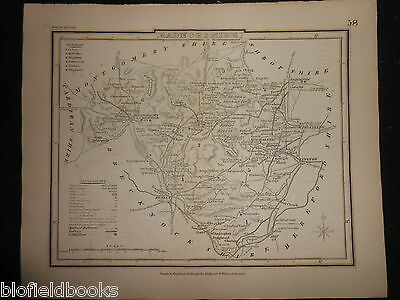 Original Antique Map of Radnorshire (South Wales)  c1850s - Dugdale, Radnor
