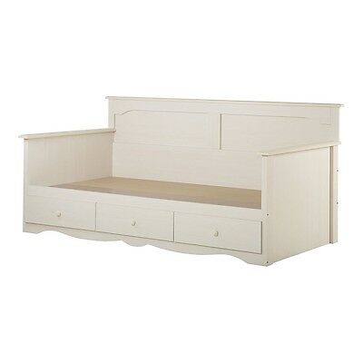 """South Shore Summer Breeze Twin Daybed with Storage (39"""") - White Wash"""