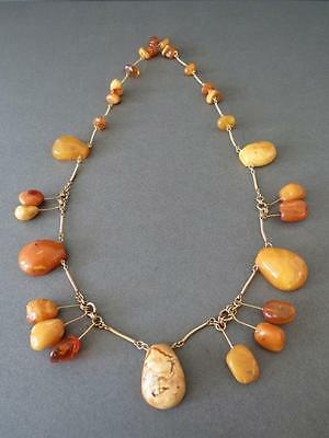 Vintage Long Natural Baltic Butterscotch Egg Yolk Amber Beads Necklace