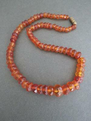 Vintage Baltic Butterscotch Egg Yolk Amber Faceted Necklace