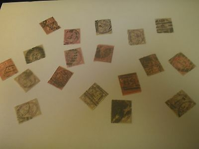 Small Lot Collection Late 1800s Great Britain Perfins Old Stamps Cancellations