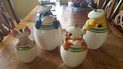 """Disney Winnie The Pooh Peak -A-Boo Canister Set 12""""-10 """"-8.5 -7.25"""" Never Used"""