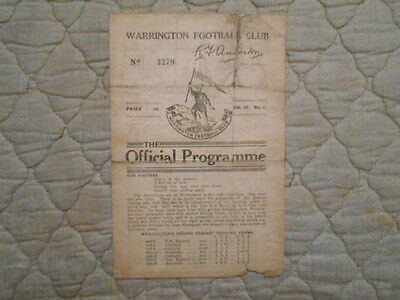 Warrington V Australia Rugby League Match Programme 1933
