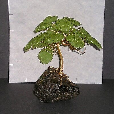 "PERIDOT GEMSTONE TREE w/ Peridot Matrix base green Bonsai 4 1/2"" 7.7 oz 1127"
