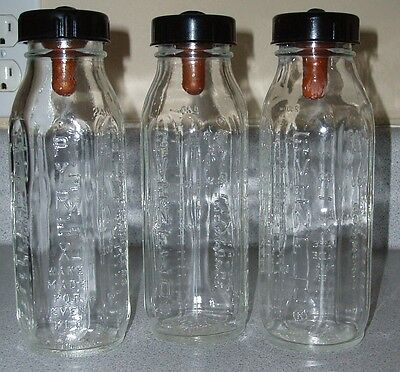 Lot of 3 Vintage Evenflo Pyrex Glass Baby Bottles Bottle with Nipples NR USA
