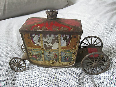 1937 George VI coronation carriage coach Biscuit tin W&R Jacob & Company Jacobs