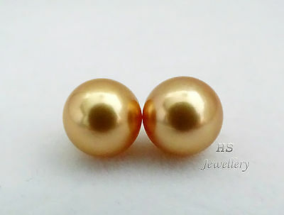 HS Rare Round Loose Golden South Sea Cultured Pearl 10.6mm Pair in AAA Grading