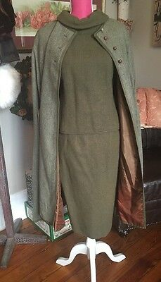 Vtg 30s 40s MILITARY GREEN TWEED WOOL CAPE and PENCIL SKIRT, SHELL SET 3 PC WW2