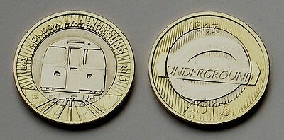 2 x 2013 Two Pound Coins - To Commemorate 150 Years Of The London Underground.