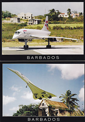1980 Concorde British Airways  Postcards(2) Visit Barbados Signed Capt Riley