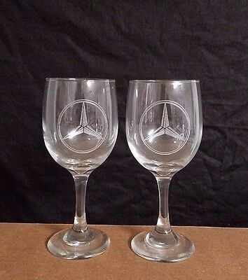 Set Of 2 Nice  Etched Drinking Wine Glasses, Logos, Mercedes-Benz Logos