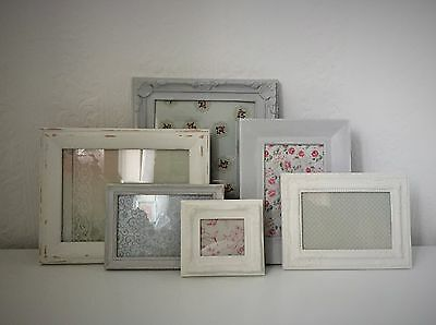 French Vintage Shabby Chic Distressed Retro Photo/Picture Frame Set White/Grey