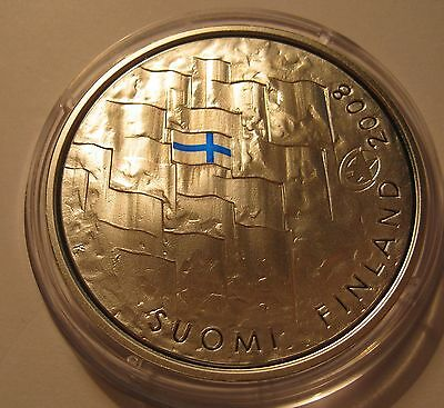 Finland 10 euro Finlands Flag 2008 Silver Proof!!!