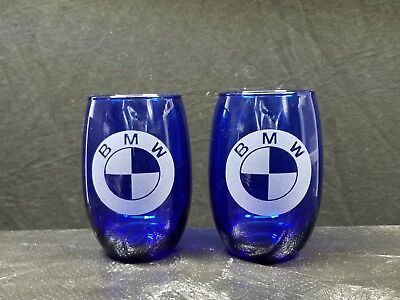 Set Of 2 Etched Nice Cobalt Stemless  Drinking Wine Glasses, Bmw  Logos