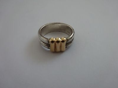 Modernist / brutalist  chunky silver and 18ct 18k gold band ring