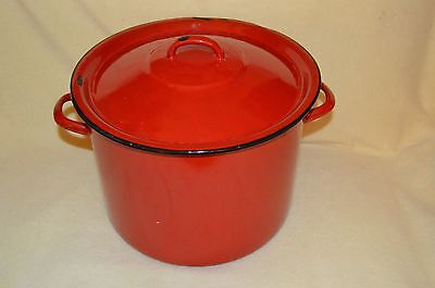 Vintage Red Enamel Round Twin Handled Cooking Pot