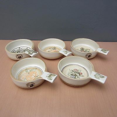 5 Vintage Jersey Pottery Fruits & Berries Design Handled Bowls / Dishes