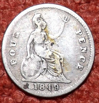 1849 Victoria Young Head .925 Silver Fourpence/Groat -- Collect / Filler Grade