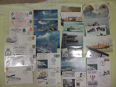 Collection of maritime/navy first day covers and lifeboat postcards