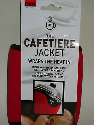 New Kilo Cafetiere Insulated Thermal Heat Wrap Jacket 3 Cup Red
