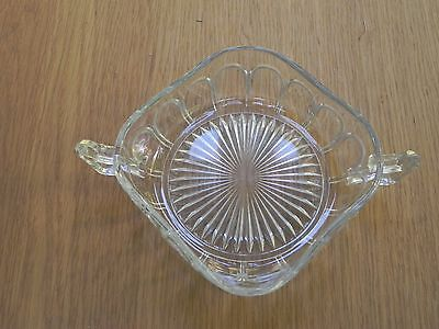 "Vintage Pressed Glass Dish, Square Shape with Two Handles 5"" Square"