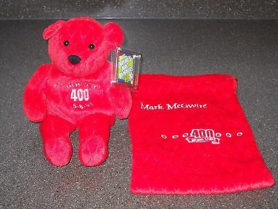 Milestone Mark McGwire 400 Home Runs Salvino's Mac Bammers Bear Red with Bag