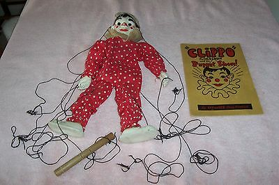 Vintage Clippo the Clown Marionette Effanbee Copyright 1938 With Booklet