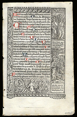 Vostre 1506 Book of Hours Leaf Woodcuts of Angels The 10 Commandments Psalm 97